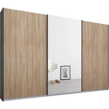 Malix 3 door 270cm Sliding Wardrobe, Graphite Grey Frame, Oak and Mirror Doors (210 x 270cm)
