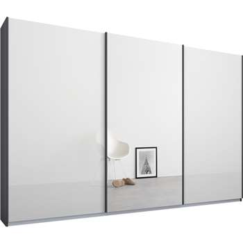 Malix 3 door 270cm Sliding Wardrobe, Graphite Grey Frame, White Glass and Mirror Doors (210 x 270cm)