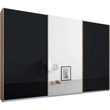 Malix 3 door 270cm Sliding Wardrobe, Oak Frame, Basalt Grey Glass and Mirror Doors (210 x 270cm)