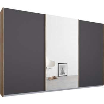 Malix 3 door 270cm Sliding Wardrobe, Oak Frame, Matt Graphite Grey and Mirror Doors (210 x 270cm)