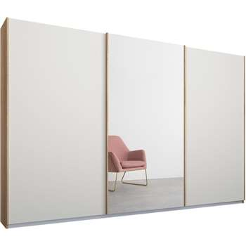 Malix 3 door 270cm Sliding Wardrobe, Oak Frame, Matt White and Mirror Doors (210 x 270cm)