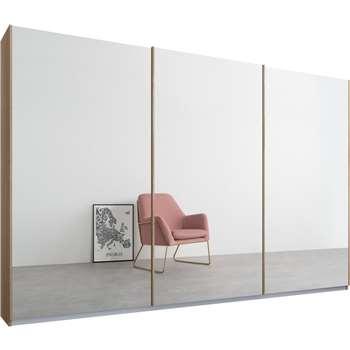 Malix 3 door 270cm Sliding Wardrobe, Oak Frame, Mirror Doors (210 x 270cm)