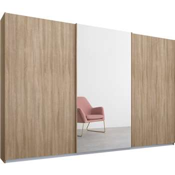 Malix 3 door 270cm Sliding Wardrobe, Oak Frame, Oak and Mirror Doors (210 x 270cm)