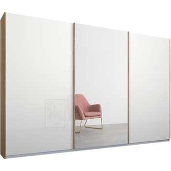 Malix 3 door 270cm Sliding Wardrobe, Oak Frame, White Glass and Mirror Doors (210 x 270cm)