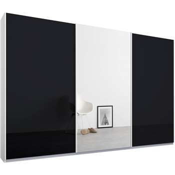 Malix 3 door 270cm Sliding Wardrobe, White Frame, Basalt Grey Glass and Mirror Doors (210 x 270cm)