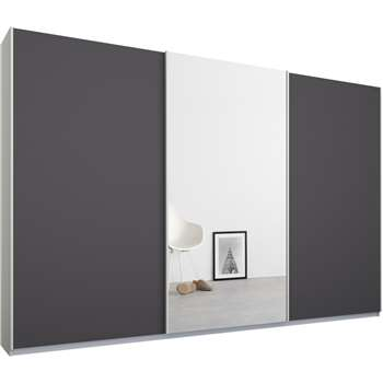 Malix 3 door 270cm Sliding Wardrobe, White Frame, Matt Graphite Grey and Mirror Doors (210 x 270cm)
