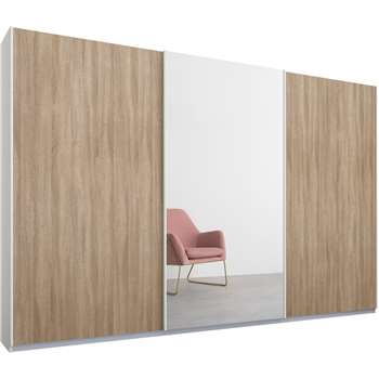 Malix 3 door 270cm Sliding Wardrobe, White Frame, Oak and Mirror Doors (210 x 270cm)