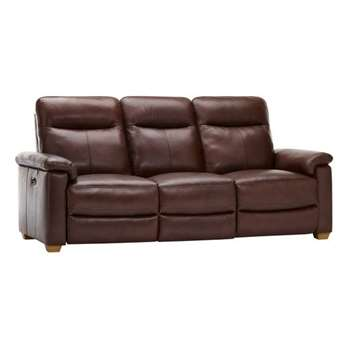 Malmo Two Tone Brown Leather 3 Seater Electric Recliner Sofa (H100 x W210 x D96cm)