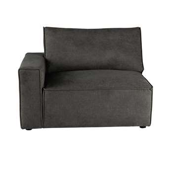 MALO Fabric left sofa arm unit in grey taupe