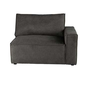 MALO Fabric right sofa arm unit in grey taupe