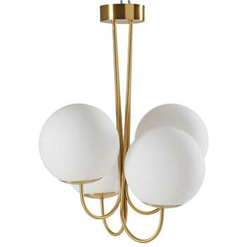 Malone White Glass and Gold Metal Chandelier with 4 Globes (H61 x W48 x D48cm)