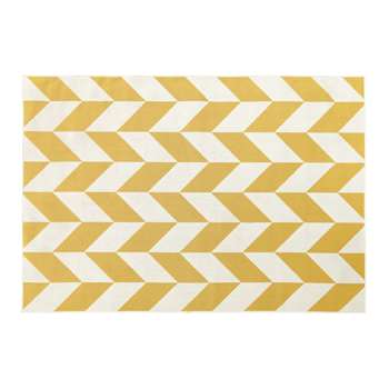 MALONE Outdoor Rug with Yellow and White Graphic Print (H160 x W230cm)
