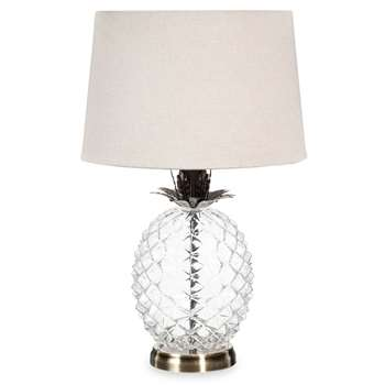 MALP glass pineapple lamp with beige shade (45 x 28cm)