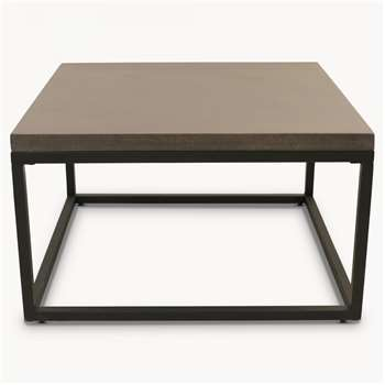 Malvern Lava Stone and Iron Square Coffee Table (H44 x W79 x D79cm)