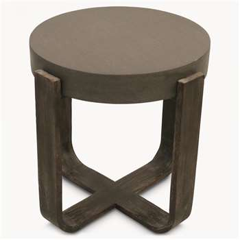 Malvern Lava Stone and Wood Round Side Table (H52 x W52 x D52cm)