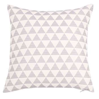 MALVILLE - Grey and Ecru Cotton Cushion Cover with Graphic Print (H40 x W40cm)