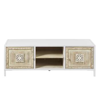 MAMBOK - 2-Door TV Unit in White Metal and Carved Mango Wood (H47 x W140 x D40cm)