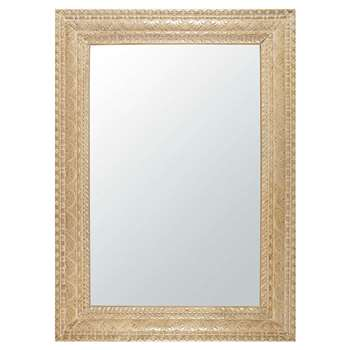 Manava Bleached And Carved Mango Wood Mirror (H152 x W110 x D3cm)