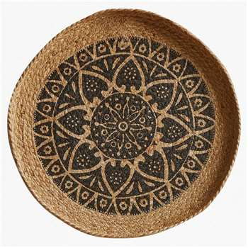 Mandala Large Wall Basket - Natural & Black (H50 x W50cm)
