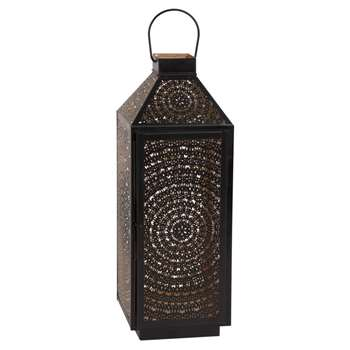 MANDALA Perforated Black Metal Lantern (H40 x W14 x D14cm)