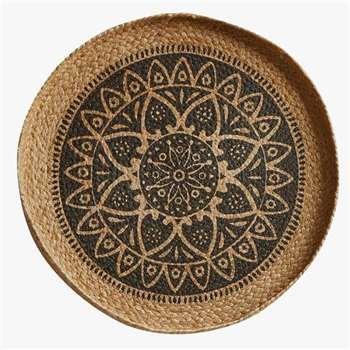 Mandala Small Wall Basket - Natural & Black (H35 x W35cm)
