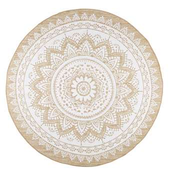 MANDALA white cotton and jute rug (180 x 180cm)