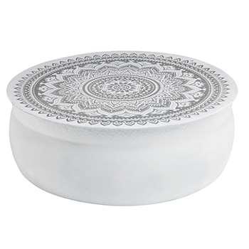MANDALA White hammered aluminium coffee table with silver motifs (31 x 91cm)