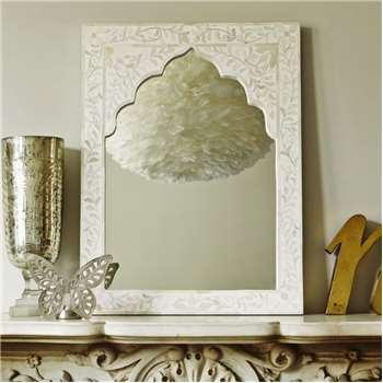 Mandir White Bone Inlay Mirror (H60 x W45 x D2cm)