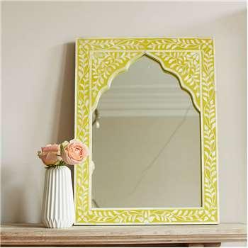 Mandir Yellow Bone Inlay Mirror (60 x 45cm)