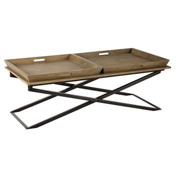 Mango wood and metal coffee table (43 x 120cm)