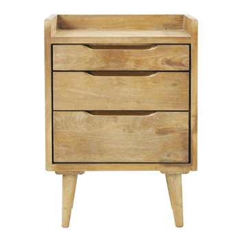 Mango wood vintage bedside table with drawers W 45cm
