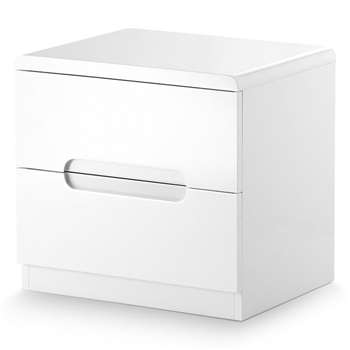 Manhattan 2 Drawer Bedside Cabinet in White (H43 x W45 x D35cm)