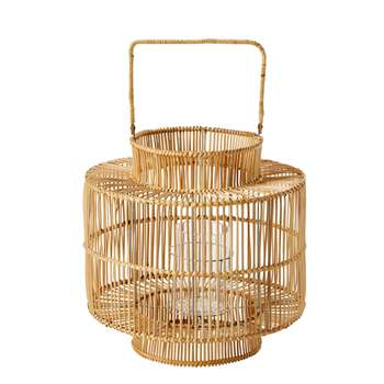 MANILLE Woven Bamboo and Glass Lantern (H58.5 x W39.5 x D39.5cm)