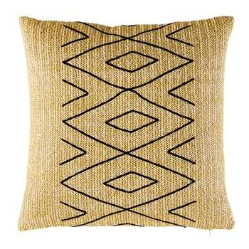 MANNAR Outdoor Cushion with Black Graphic Motifs (H50 x W50 x D10cm)