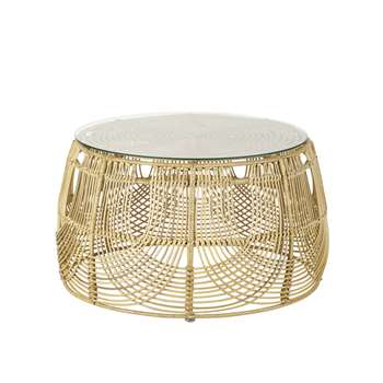 MANOHA - Round Rattan and Black Metal Coffee Table Manoha (H41 x W73 x D73cm)