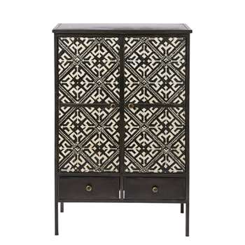 MANOLO - 2-Door 2-Drawer Storage Cabinet with Ivory Print (H116 x W75 x D41cm)