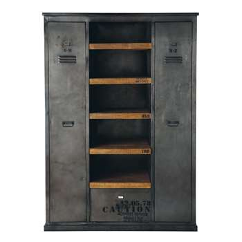 MANUFACTURE Antiqued Metal and Solid Mango Wood Industrial Closet (H195 x W135 x D50cm)