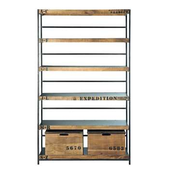 MANUFACTURE Antiqued metal shelf unit W 125cm