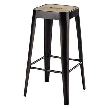 MANUFACTURE - Mango Wood and Metal Industrial Bar Stool (H68 x W34 x D34cm)