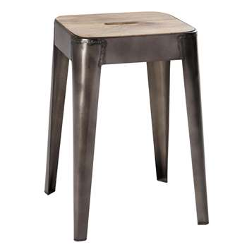 MANUFACTURE Mango wood and metal stool (45 x 32cm)