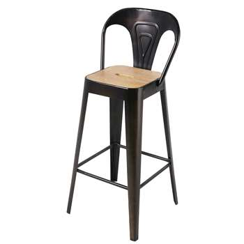 MANUFACTURE PRO - Mango Wood and Black Metal Professional Bar Chair (H94 x W38 x D38cm)