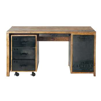 MANUFACTURE Solid mango wood and metal desk W 150cm