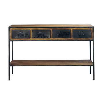 MANUFACTURE Solid mango wood and metal industrial console table in black (Width 130cm)