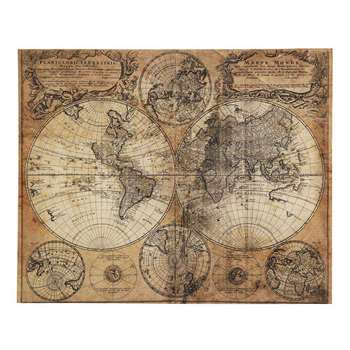 MAPPEMONDE Antiqued Canvas (H73 x W93 x D4cm)