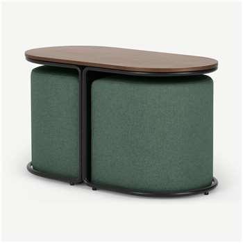 Marade Table & Ottoman Set, Bay Green (H45 x W78 x D39cm)