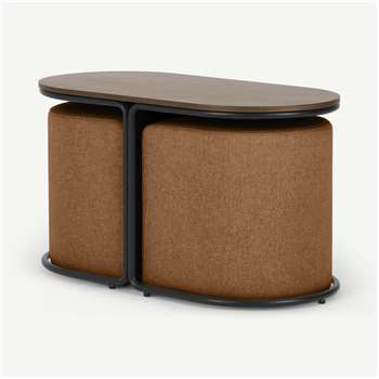 Marade Table + Ottoman Set, Dune Orange (H45 x W78 x D39cm)