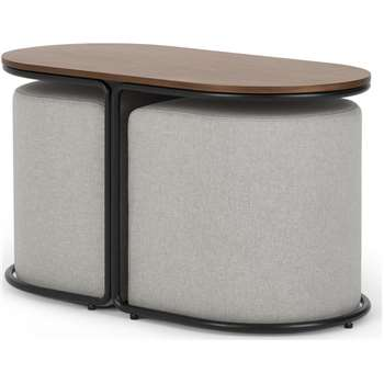 Marade Table + Ottoman Set, Hail Grey (H45 x W78 x D39cm)