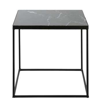 ESTEBAN Marble and Black Metal End Table (40 x 40cm)