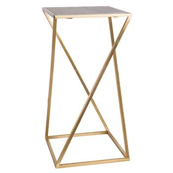 PIAZZELA Marble and Gold Metal End Table (H61 x W31 x D31cm)
