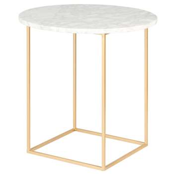 Marble and Matte Gold Metal Side Table (H37 x W40 x D40cm)